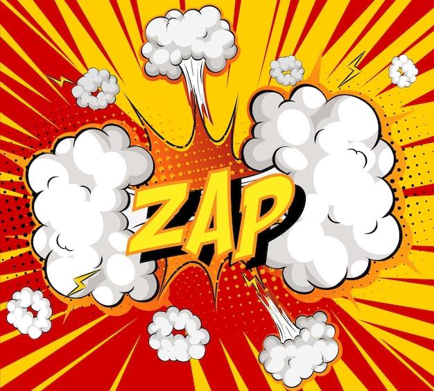 Wort zap auf komischem wolkenexplosionshintergrund