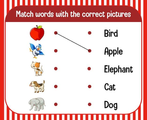 Wort-zu-bild-arbeitsblatt für kinder
