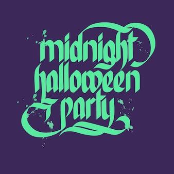 Worte mitternacht halloween party schriftzug