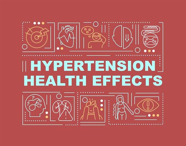 Wortkonzepte-banner für die auswirkungen von bluthochdruck auf die gesundheit