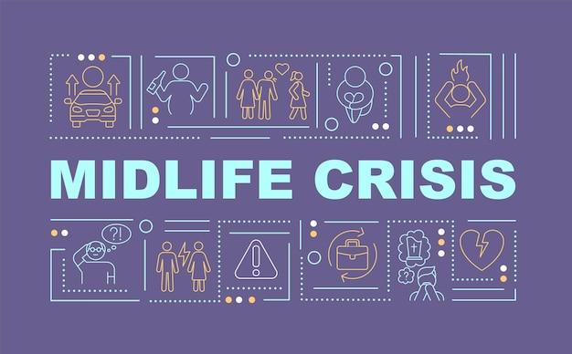 Wortkonzepte banner zur prävention von midlife-crisis-prävention. alterungsproblem. infografiken mit linearen symbolen auf lila hintergrund. isolierte kreative typografie. vektorumriss-farbillustration mit text