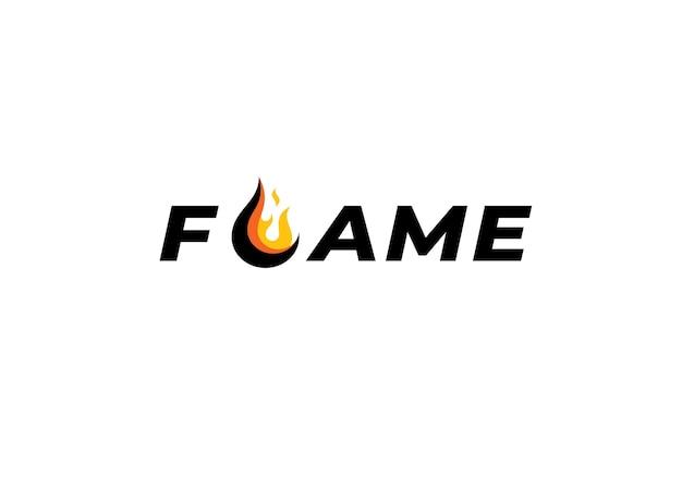 Wortmarke typografie logo flamme mit buchstabe l als feuerballflamme
