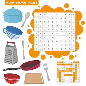 Wortsuchrätsel. vektorbildungsspiel für kinder. kochgeräte-icon-set - bratpfanne, tasse, pfanne, schüssel, brett usw