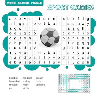 Wortsuchrätsel zum thema sportspiele für kinder. antwort enthalten. lustiges bildungsspiel für kinder, vorschularbeitsblattaktivität, vektorillustration