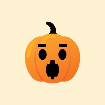 Wow-kürbis reagieren emoji-ikone halloween-vektor