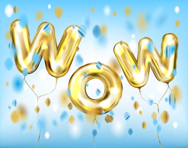 Wow schriftzug von folie goldenen luftballons in blau