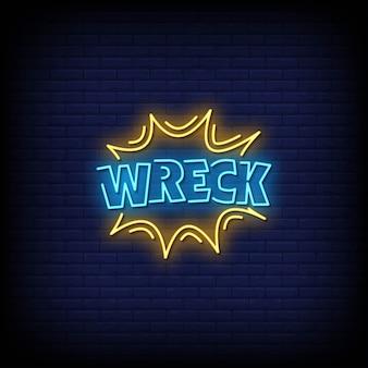 Wrack neon style text mit gelben linien