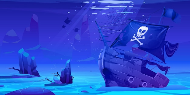 Wrackpiratenschiff, versunkenes filibuster-schiff, holzboot mit lustiger roger-flagge auf sandboden des ozeans mit sonnenstrahlen. karikatur.