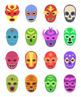 Wrestler-masken. mexikanische kampfkämpfer tragen kleidung in der farbe der maskierten kollektion lucha libre zur schau