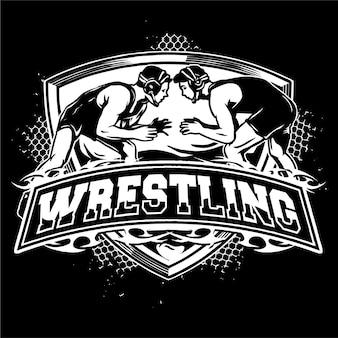 Wrestling abzeichen logo illustration