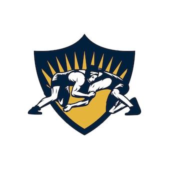 Wrestling sport logo