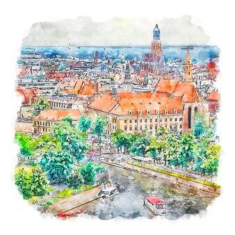 Wroclaw polen aquarellskizze handgezeichnete illustration