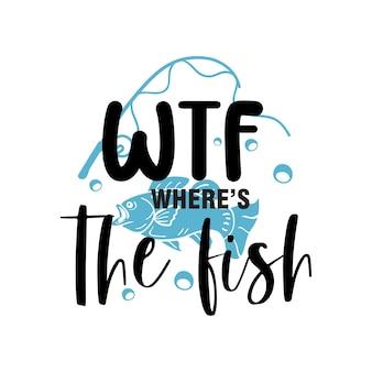 Wtf wo ist das fisch-schriftzug-typografie-design