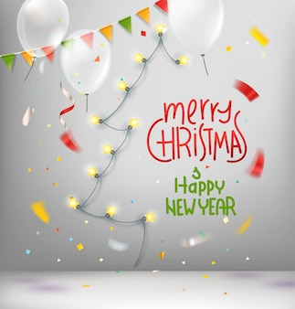 Wünsche der frohen weihnachten und des guten rutsch ins neue jahr kardieren mit abstraktem weihnachtsbaum der girlande
