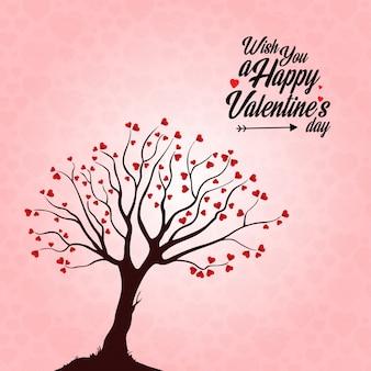 Wünsche dir einen happy valentinstag heart tree hintergrund