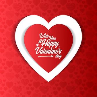 Wünschen sie einen glücklichen valentinstag mit rotem musterhintergrund