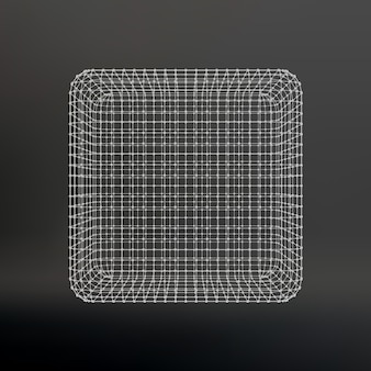Würfel aus linien und punkten. würfel der mit punkten verbundenen linien. molekülgitter. das strukturelle gitter von polygonen. schwarzer hintergrund. die anlage befindet sich auf einem schwarzen studiohintergrund.