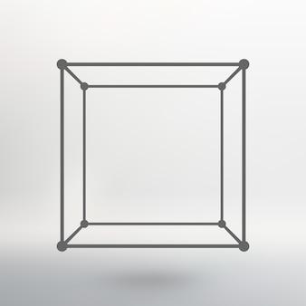 Würfel aus linien und punkten. würfel der mit punkten verbundenen linien. molekülgitter. das strukturelle gitter von polygonen. weißer hintergrund. die anlage befindet sich auf einem weißen studiohintergrund.
