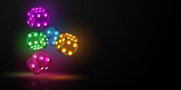 Würfel casino, neonlicht