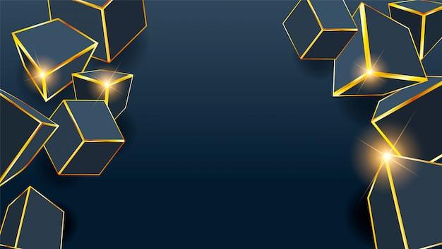 Würfel-goldener kasten-abstrakter hintergrund