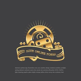 Würfel. goldenes symbol auf schwarzem hintergrund