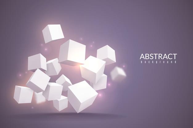 Würfel hintergrund. digitales plakat mit geometrischen würfeln. weiße blöcke in der perspektive, internetverbindungstechnologiestrukturlagerprodukt rotierendes konzept