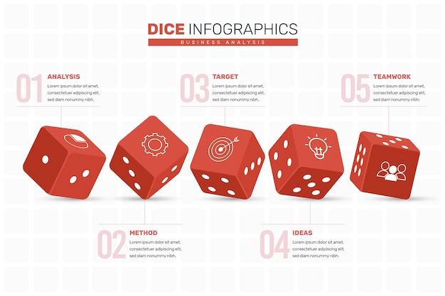 Würfel infografik konzept