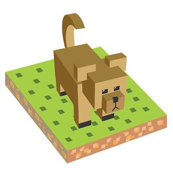 Würfel isometrischer tierhund