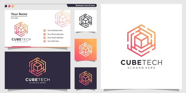 Würfel-logo mit strichgrafik-technologie-stil und visitenkarten-design
