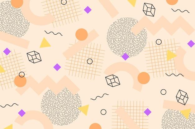 Würfel und geometrische formen memphis hintergrund