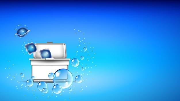 Würfel von waschpulver im kasten-kopierraum-vektor