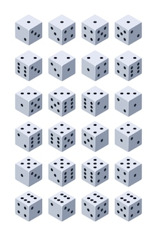 Würfel zum spielen. verschiedene isometrische würfel 3d für spiele