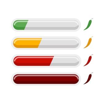 Würzige chili-pfeffer-messung infografik isoliert auf weißem hintergrund. symbol mit anzeige für speisemenü-restaurant im flachen stil. vektorillustrationsdesign.