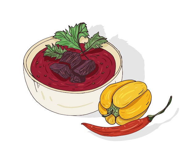 Würzige kharchosuppe mit tomaten und fleisch. leckeres essen der georgischen küche isoliert. köstliches kaukasisches gericht in schüssel, glocke und peperoni