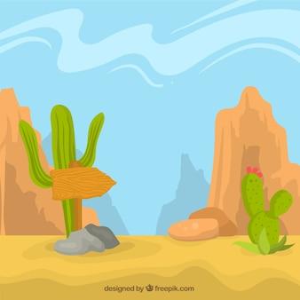 Wüste hintergrund mit kakteen und felsigen berg