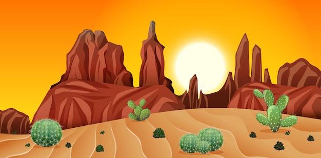 Wüste mit felsenbergen und kaktuslandschaft bei sonnenuntergangsszene