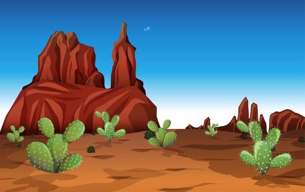 Wüste mit felsenbergen und kaktuslandschaft zur tagesszene