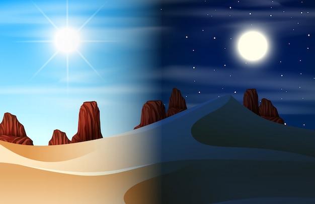Wüste tag und nacht szene