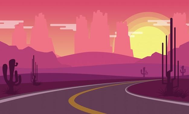 Wüstenansicht, während sonne mit leerer landstraße einstellt