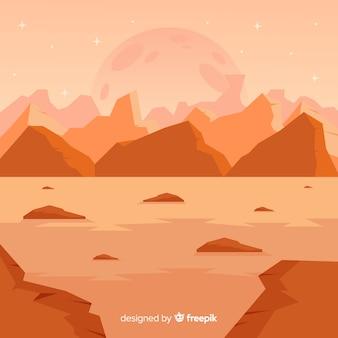 Wüstenhafter landschaftshintergrund mars