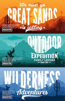 Wüstenhorizontales bannerset. wüsten sie wilde naturlandschaften mit kakteen, wüstenkräutern, wolken und bergen