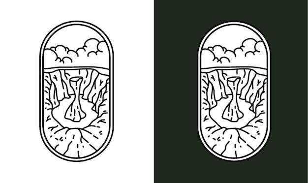 Wüstenklippen monoline illustration