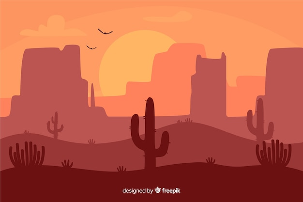 Wüstenlandschaft im morgengrauen