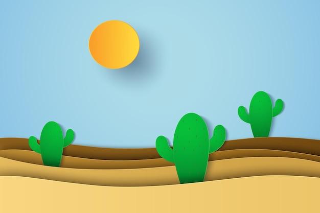 Wüstenlandschaft mit kaktus im papierkunststil