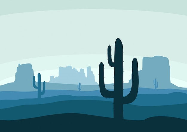 Wüstenlandschaft mit kaktus