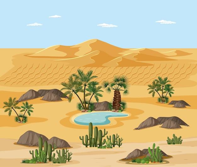 Wüstenlandschaft mit naturbaumelementszene