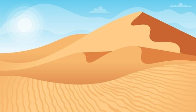 Wüstenlandschaft mit sanddünenillustration