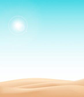 Wüstenlandschaftshintergrund. natürliche sanddünen in sonnentapete mit explorer.illustration. wüstenlandschaft