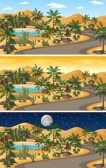 Wüstennaturlandschaftsszene zu verschiedenen tageszeiten