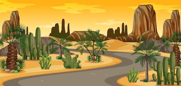 Wüstenoase mit palmen und naturlandschaftsszene